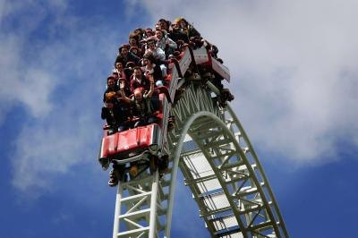 Stealth rollercoaster in Thorne Park in England