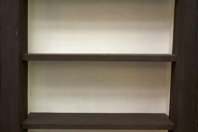 Close up of empty wood shelves