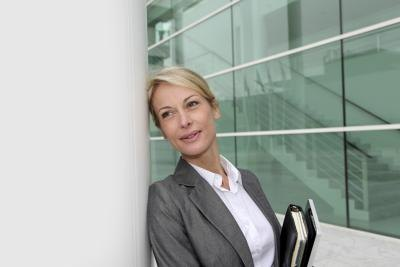 Business woman outside office
