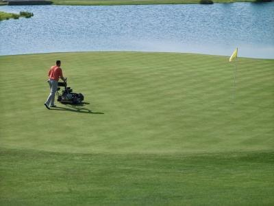 Golf courses employ groundskeepers to maintain the lawn.