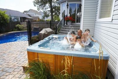 Family having fun in hot tub