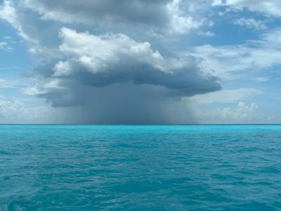 Storm with rainclouds over the horizon near the Bahamas