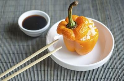 stuffed pepper with soy sauce