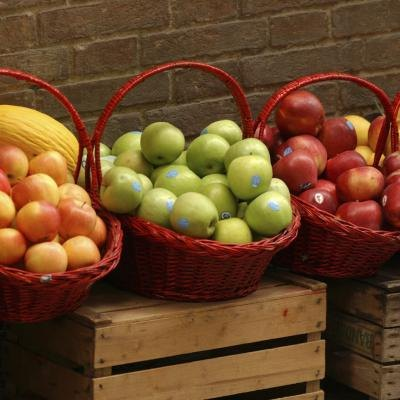Baskets of fresh apples
