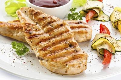 Grilled chicken on a plate with vegetables