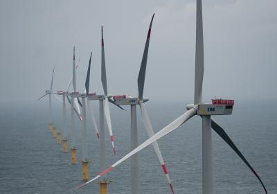 An offshore wind farm in Borkum, Germany.