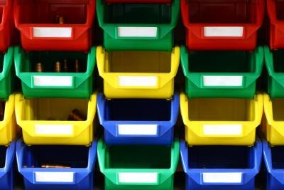 Rows of colorful plastic bins