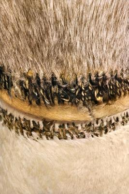 Stitched animal skins on an African drum