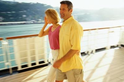 Couple on deck of cruise ship