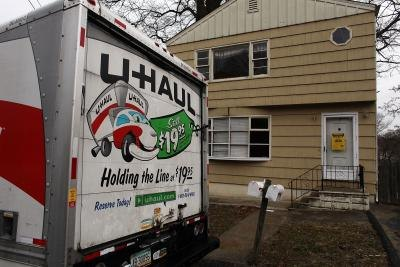 U-Haul vehicle parked outside home in Connecticut