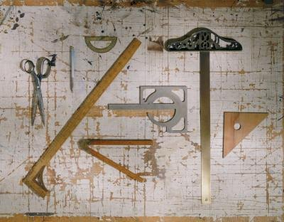 Assorted drafting tools.