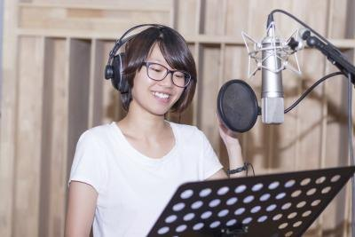 woman in recording studio