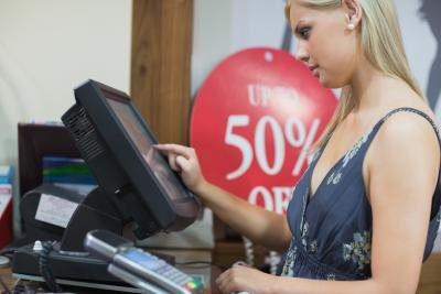 A checkout operator is usually on her feet for most of the workday.