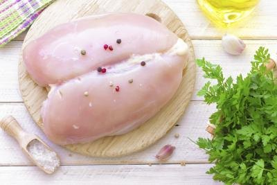 Uncooked chicken breast