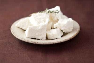 Small plate of fresh chèvre cheese