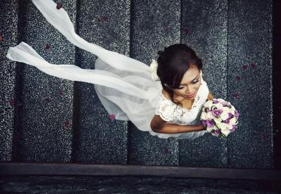 Aerial view of a bride.
