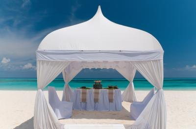 Wedding pavilion on beach in Bahamas