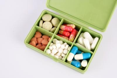 Box of assorted vitamins