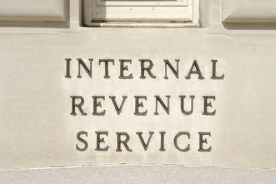 Sign on the side of the IRS building in Washington, D.C
