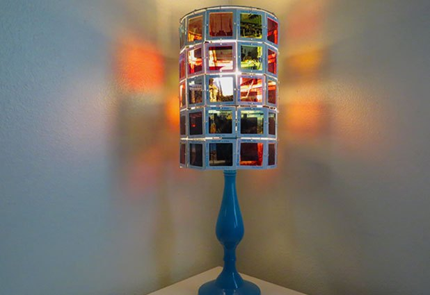 Use vintage slides to create a lamp shade.