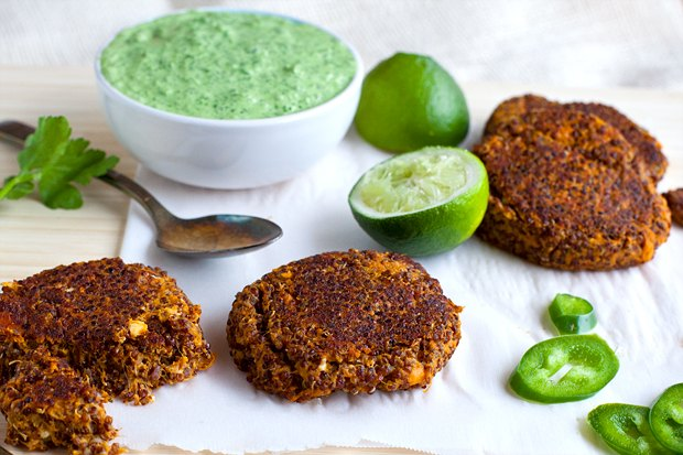 How to Make Sweet Potato Quinoa Cakes with Cilantro Lime Crema
