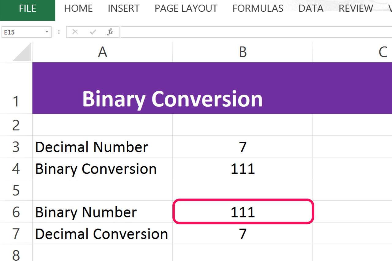 Binary to decimal excel formula