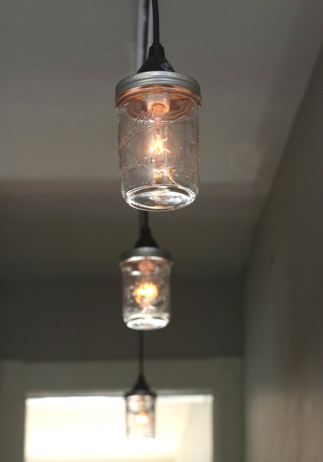 Mason jars make for rustic-modern pendant lights.