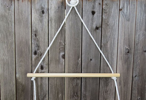 Temporarily hang the rope to string the dowels.