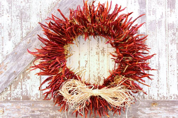 A some sizzle to your home with a chili pepper wreath.
