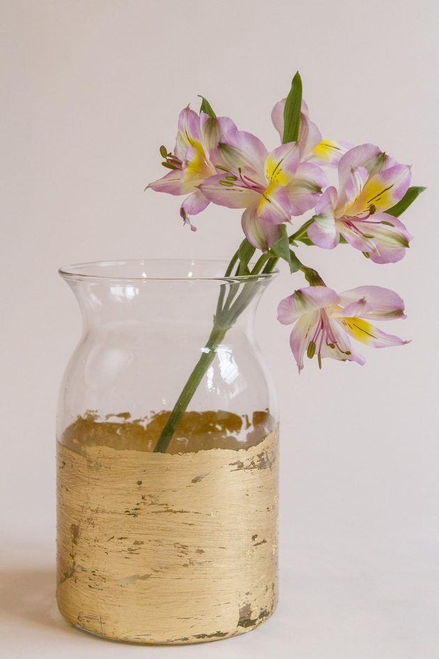 A little gold leaf takes even the plainest vase from blah to glam.