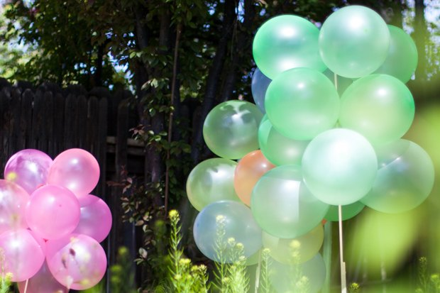 Balloons aren't just for kids' parties-- in one color and grouped together, they add a festive air to any soirée.