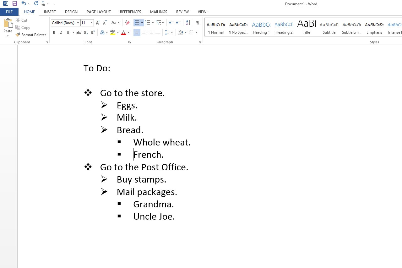how to create list in microsoft word