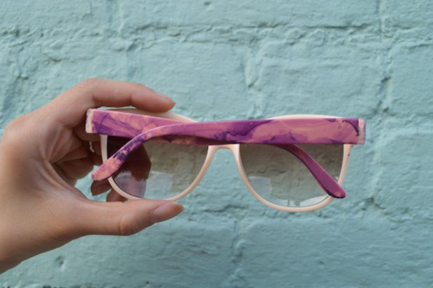 Use old nail polish to create marbled sunglasses.