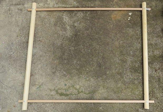 Slide dowels together to create a square frame.