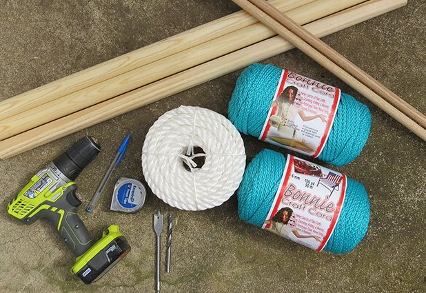 Supplies to make a macrame hanging chair.