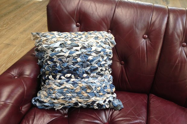 A denim pillow complements any couch!