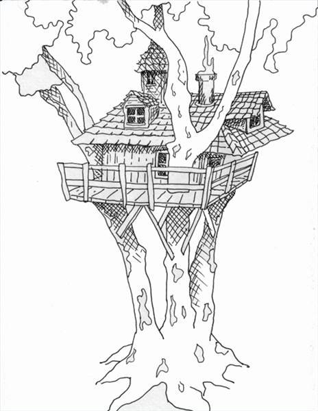 House Drawing Color: How To Draw Tree House