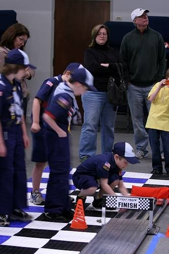 Scouts at a pinewood derby race.