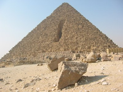The Great Pyramid of Khufu at Giza, Egypt, is made of 2.3 million blocks of stone.