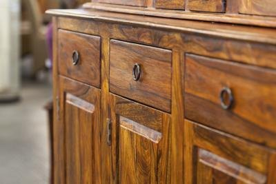 Close-up of credenza with drawers