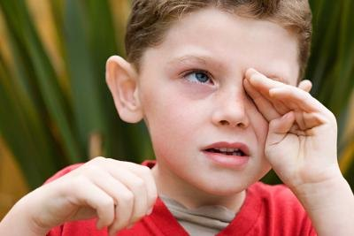 Allergies can cause eyes to water and become crusty.