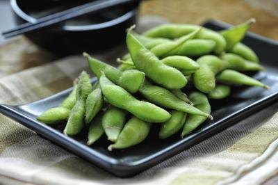 Small dish of edamame beans