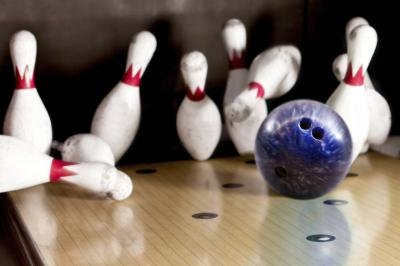 Ball hits bowling pins