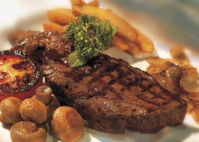 The New York strip steak is cut from the short loin of the beef and is considered a tender cut.