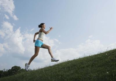 A woman runs for exercise.