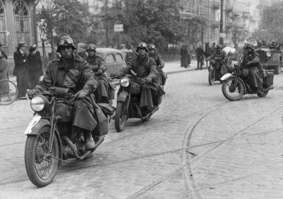 German motorcyclists on the streets of Warsaw on Oct. 01, 1939