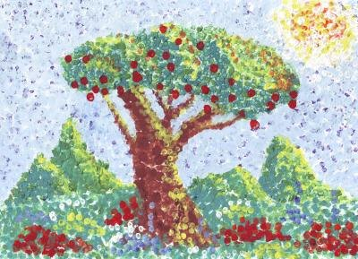 Pointillism painting