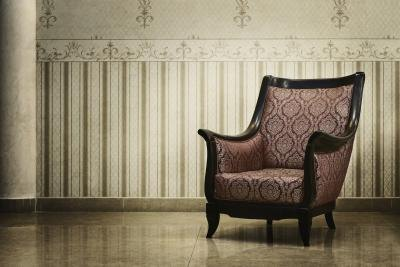Chair with traditional molding and contemporary fabric