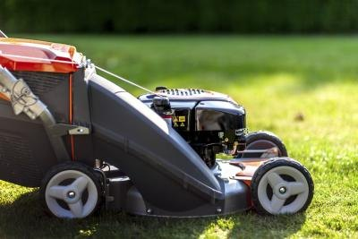 Close-up of a lawn mower