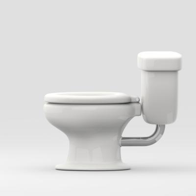 Side view of toilet.